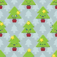 Seamless background tile with cute Kawaii Christmas Tree pattern