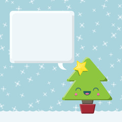 Kawaii Christmas Tree with Speech Bubble