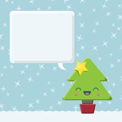 Kawaii Christmas Tree with Speech Bubble