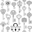 Seamless pattern with vintage keys