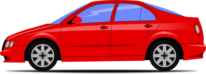 Design of a red liftback car on white background