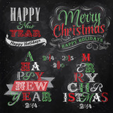 Merry Christmas and New Year lettering collection of Christmas t