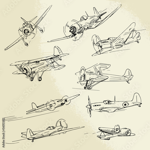 hand drawn airplanes