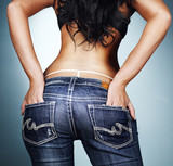 sexy ass and g-string in tight jeans