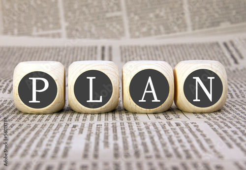 Plan, Planung, Planen - Konzept mit Holzwürfeln