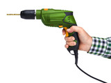 Male hand holding electric drill