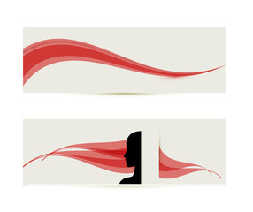 banner templates with female profile silhouette
