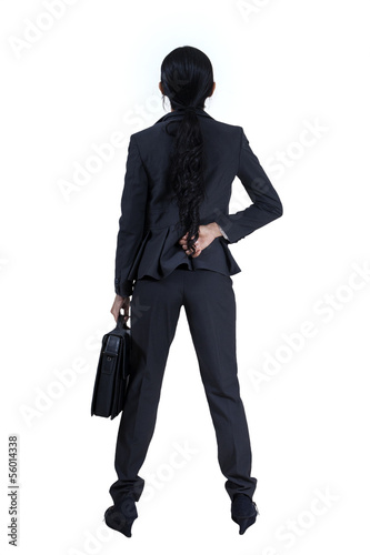 Asian businesswoman from the back - isolated