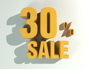 3d letters forming Thirty percent symbol and the word sale