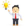 Geschäftsman mit einer Glühbirne, Idee - 3D