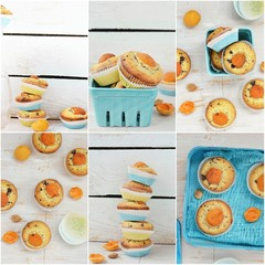 collage with apricot muffins