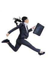 Young businesswoman with briefcase running for success