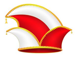 Karnevalsmütze, rot, weiß