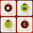 Set IV of greeting cards Christmas ball