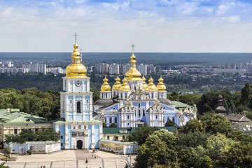 Saint Michael's Golden-Domed Cathedral in Kyiv, Ukraine, Europe.