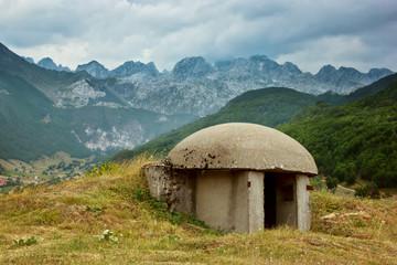View of Bunker in Albanian Alps