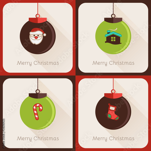 Set IV of greeting cards Christmas ball