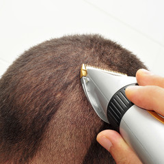 man cutting his hair with an electric hair clipper
