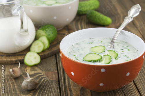 Cold soup with cucumbers, yogurt and fresh herbs