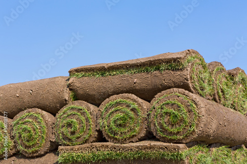 stacks of sod rolls