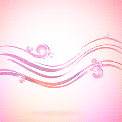 Abstract pink background with waves and swirls.