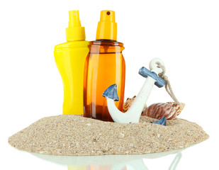 Bottles with suntan cream, isolated on white