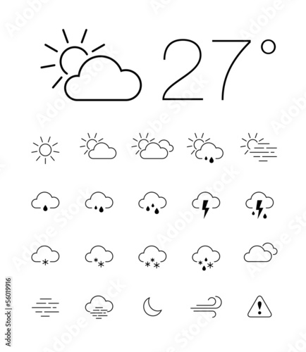 Set of 20 thin and clean outline weather icons