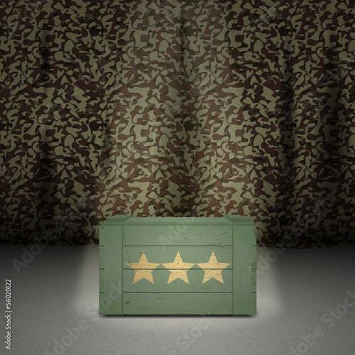 Army background with wooden box