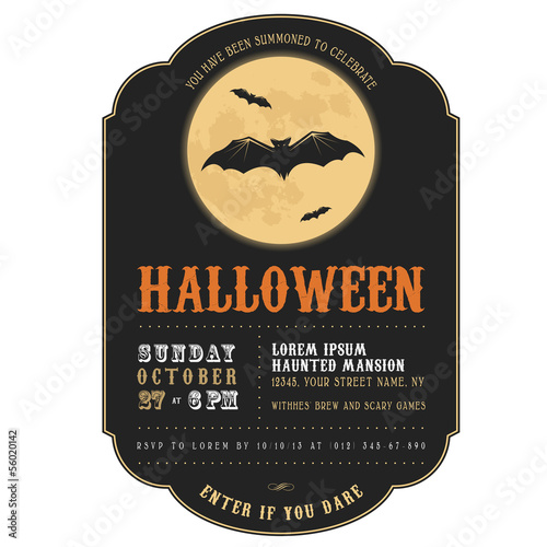 Vintage Halloween invitation with flying bats