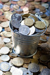 Pail of world coins