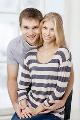 happy young caucasian couple