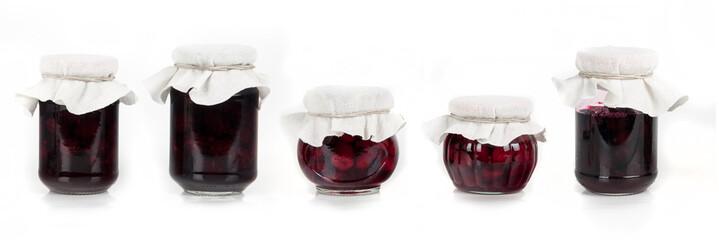 jar of homemade jam and fresh fruits - wallpaper