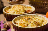 Crumble with apple, hazel nut, and violet caramel