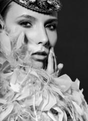 beauty women face feather boa