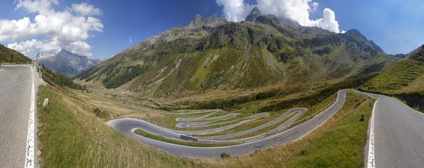Alpine road with tight serpentines on Splugenpass, Switzerland