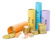 Münzrollen und Kleingeld