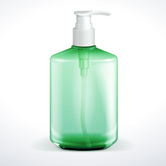 Dispenser Pump Cosmetic Or Hygiene Green Glass Bottle Of Gel