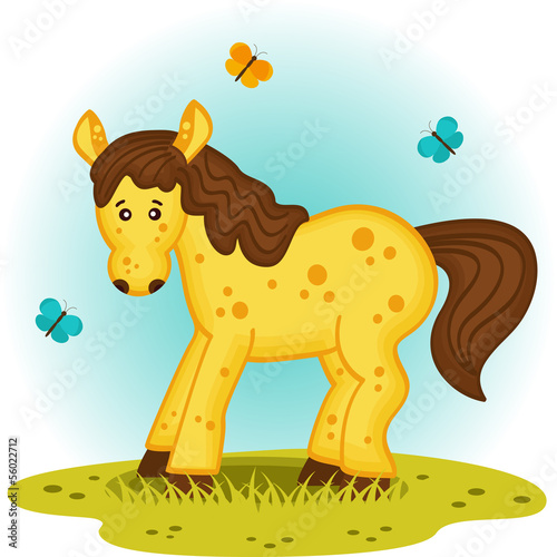 little foal in the meadow - vector illustration