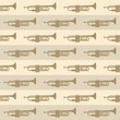seamless vintage background with trumpets