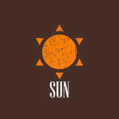 vintage illustration with the sun icon