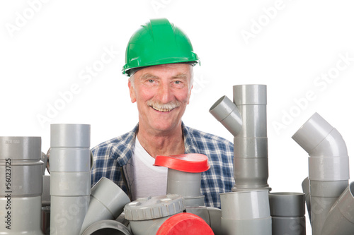 Confused funny plumber