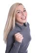 Mädchen hat die Prüfung mit Erfolg bestanden isoliert lachend