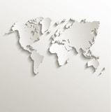 Fototapety vector World map card paper 3D nature
