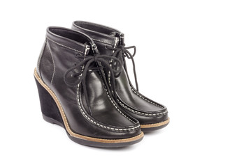 Black Leather Women s Wedges Boots Isolated on White