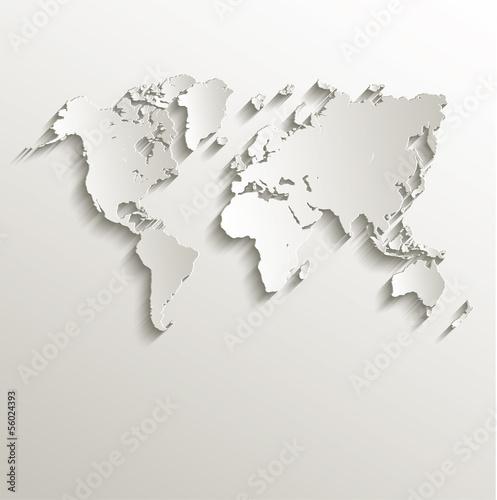 wektor Mapa świata karty papieru 3D charakter