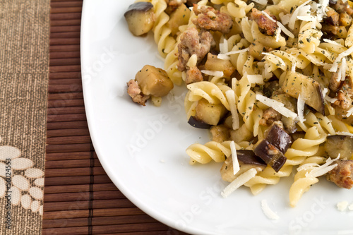 pasta with sausage, eggplant and cheese