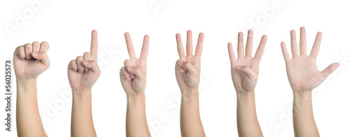 all hand sign posture number 0-5 isolated