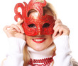 blond girl with red mask