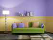 Green sofa and lamp