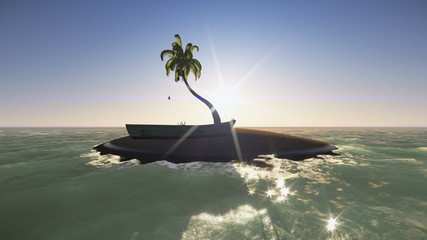 Dawn in a tiny deserted island with a coconut tree and a boat